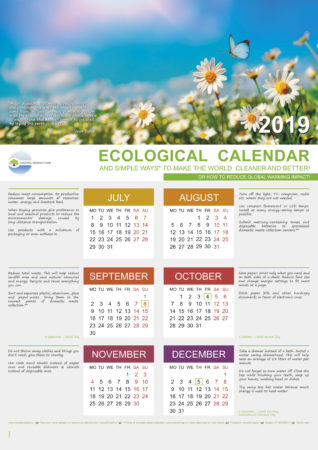 ECOLOGICAL CALENDAR 2019 and Classes schedule